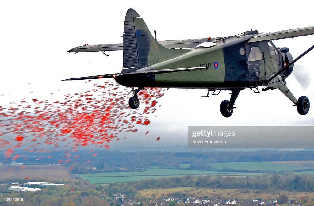 British Army Air Corps, Historic Aircraft Flight De-Haviland Beaver aeroplane dropping poppies over Middle Wallop on Remembrance Sunday.