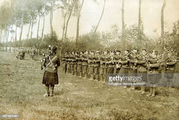 British army bagpipers sound music somewhere on the eastern French front in France 1915