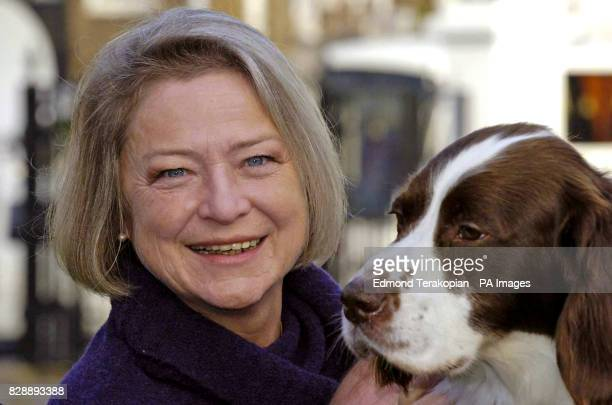 British Army dog Buster with news correspondent Kate Adie after receiving the PDSA Dickin Medal the animal equivalent of the Victoria Cross at...