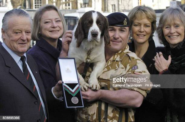 British Army dog Buster with Roy Trustram Eve Kate Adie Sgt Danny Morgan Jenny Seagrove and Virginia McKenna after receiving the PDSA Dickin Medal...