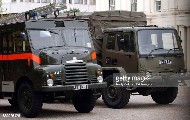 British Army Green Goddess fire trucks line up at Wellington Barracks London ahead of the announcement for the upcoming strike ballot from the...