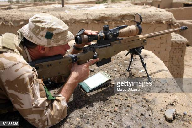 British Army soldier from the 3rd Battalion The Parachute Regiment sniper section conducts strike operation Southern Beast on August 3 2008 in...