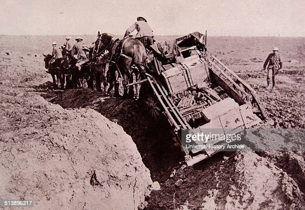 British army supplies are taken with great difficulty over the muddy fields of Flanders in Belgium in 1915 during world war one Flanders saw some of...