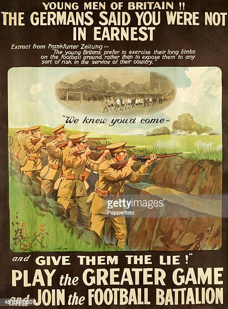 A British Army World War One recruiting poster for the 'Football Battalion' the 17th Service Battalion of the Middlesex Regiment featuring...