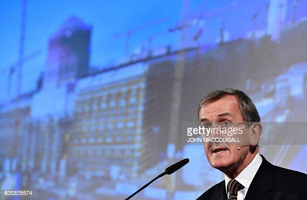 British Art Historian Neil MacGregor attends a press conference to present the future Humboldt Forum in the auditorium of Berlin's castle in Berlin...