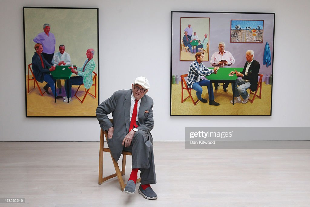 British artist <a gi-track='captionPersonalityLinkClicked' href=/galleries/search?phrase=David+Hockney&family=editorial&specificpeople=215305 ng-click='$event.stopPropagation()'>David Hockney</a> sits in front of two works entitled 'Card Player #3 (L) and Bigger Card Players' during the launch of his new exhibition 'Paintings and Photography' at the Annely Juda fine art gallery on May 14, 2015 in London, England. The exhibition of new paintings and photography explores his interest in perspective and amongst the work features group portraits of card players painted in his Los Angeles studios in 2014 and 2015. The exhibition opens to the public until June 27, 2015.