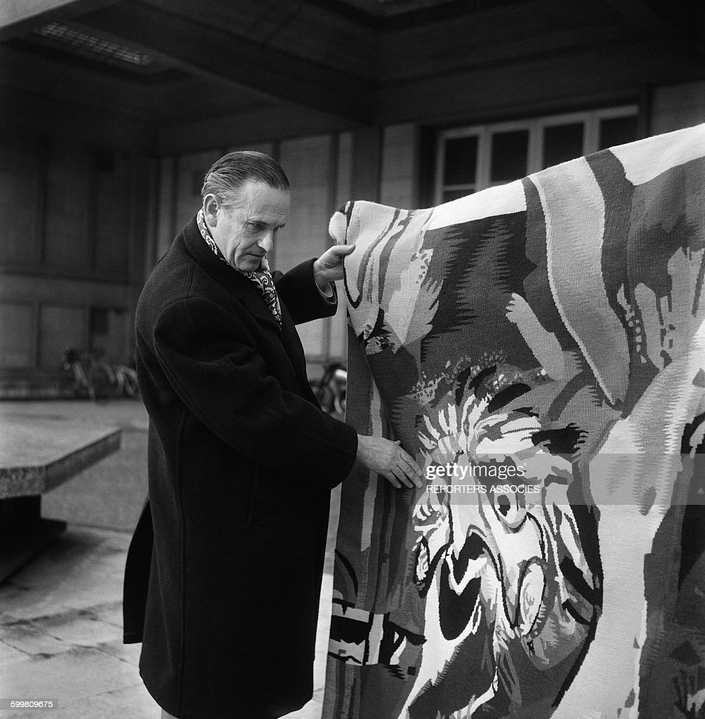 British Artist <a gi-track='captionPersonalityLinkClicked' href=/galleries/search?phrase=Graham+Sutherland&family=editorial&specificpeople=240635 ng-click='$event.stopPropagation()'>Graham Sutherland</a> at the Weaving Shed Pinton, With A Tapestry For Which He Designed the Pattern, in Paris, France, Circa 1960 .
