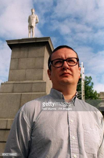 British artist Mark Wallinger in front of his statue Ecce Homo a contemporary lifesize figure of Christ at Trafalgar Square in London the first of...