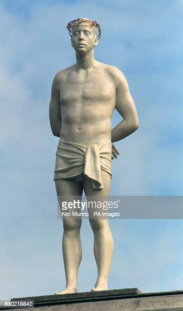 British artist Mark Wallinger's statue Ecce Homo a contemporary lifesize figure of Christ unveiled at Trafalgar Square in London the first of three...