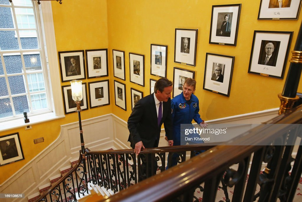 British astronaut Major Tim Peake is greeted at 10 Downing Street by British Prime Minister <a gi-track='captionPersonalityLinkClicked' href=/galleries/search?phrase=David+Cameron+-+Politician&family=editorial&specificpeople=227076 ng-click='$event.stopPropagation()'>David Cameron</a> on May 20, 2013 in London, England. It was announced today that the former army helicopter pilot, Tim Peake, 41, will be joining the International Space Station (ISS) in late 2015, and will be the first 'home-grown' British astronaut to head to the International Space Station at the head of a six-man crew.