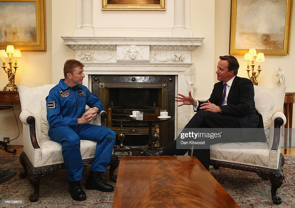 British astronaut Major Tim Peake speaks with British Prime Minister <a gi-track='captionPersonalityLinkClicked' href=/galleries/search?phrase=David+Cameron+-+Politician&family=editorial&specificpeople=227076 ng-click='$event.stopPropagation()'>David Cameron</a> in 10 Downing Street on May 20, 2013 in London, England. It was announced today that the former army helicopter pilot, Tim Peake, 41, will be joining the International Space Station (ISS) in late 2015, and will be the first 'home-grown' British astronaut to head to the International Space Station at the head of a six-man crew.