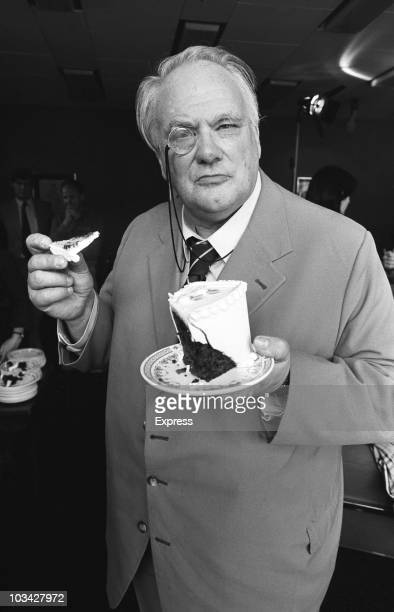 British astronomer and television presenter Patrick Moore with some cake on April 21 1982