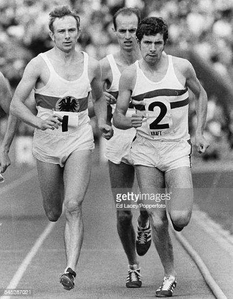 British athlete Brendan Foster takes the lead ahead of Heinz Mortl and eventual winner Harald Norpoth of West Germany during the 1500m race at...