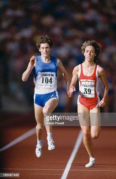 British athlete Kirsty McDermott and American athlete Mary Slaney formerly Mary Decker at the Bislett Games in Oslo Norway 1985