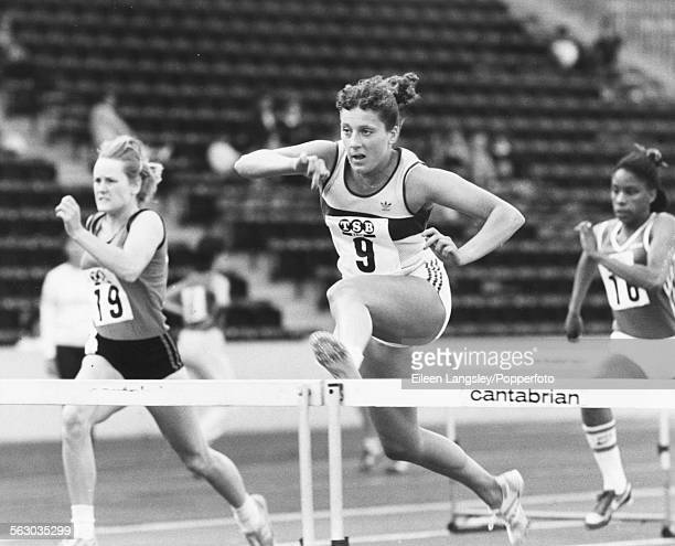 British athlete Sally Gunnell competing in the 100m hurdles event at the English School's Athletics Championships at Crystal Palace stadium London...