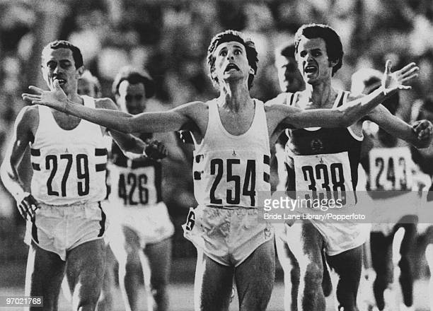 British athlete Sebastian Coe wins the men's 1500 metres in a time of 33840 at the Moscow Olympic Games 6th August 1980 Jurgen Straub of East Germany...