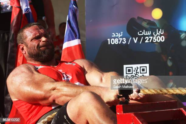 British athlete Terry Hollands competes at the truckpull competion of the World's Strongest Man event that takes place for the first time in the...