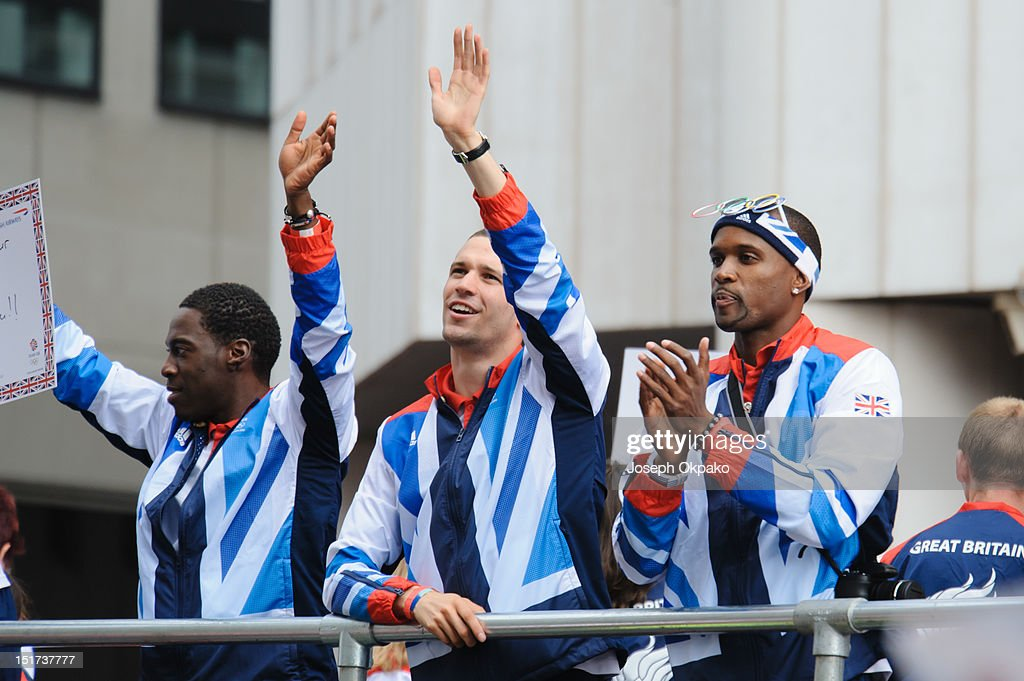 British athletes wave to the public during the parade of Team GB's Olympic and Paralympic athletes on September 10, 2012 in London, England.