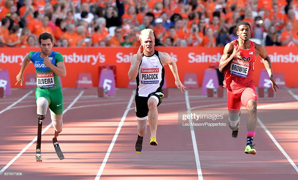 British Athletics Sainsburys Para Challenge The Stadium Queen Elizabeth Olympic Park London UK 100m Men T43