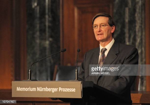 British attorney general Dominic Grieve addresses guests during the inauguration of the new information and documentation center 'Memorial Nuremberg...