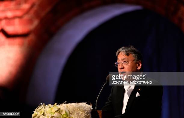 British author and Nobel Prize in Literature 2017 laureate Kazuo Ishiguro delivers his Banquet Speech at the 2017 Nobel Prize banquet at the...