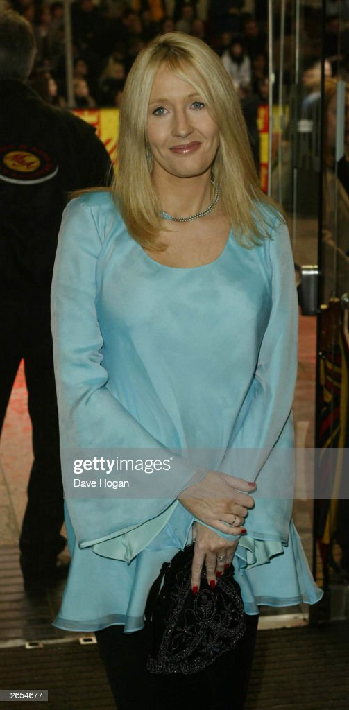 British author JK Rowling attends the UK film premiere of 'Harry Potter and the Chamber of Secrets' at the Leicester Square Odeon cinema on November 3, 2002 in London.