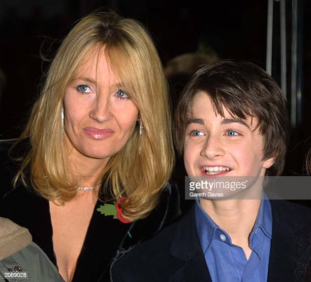 British author JK Rowling creator of the Harry Potter children's books and 11 year old Daniel Radcliffe attend the world film premiere of 'Harry...