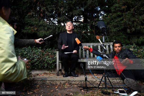 TOPSHOT British author Kazuo Ishiguro holds a press conference in London on October 5 2017 after being awarded the Nobel Prize for Literature Kazuo...