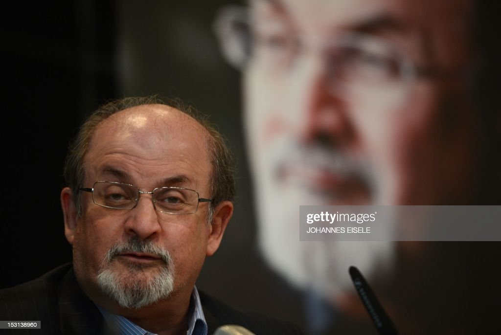 British author Salman Rushdie addresses the press during the presentation of his book 'Joseph Anton' on October 1, 2012 in Berlin. As violent protests over a US-made film rock the Muslim world, Salman Rushdie publishes his account of the decade he spent in hiding while under a fatwa for his book 'The Satanic Verses'.