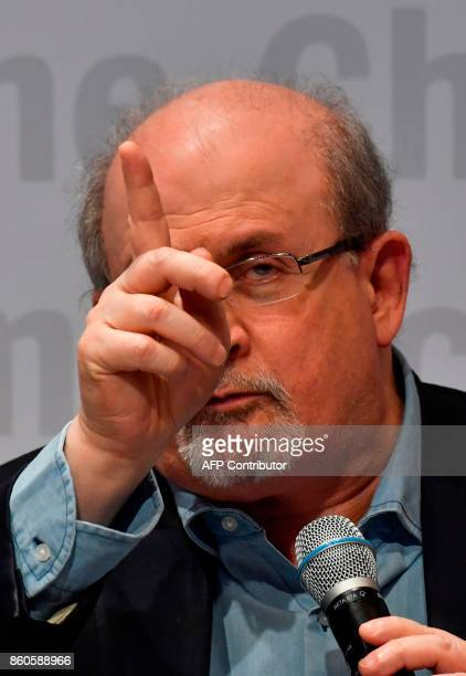 British author Salman Rushdie discusses his latest novel 'Golden House' at the Frankfurt Book Fair 2017 in Frankfurt am Main central Germany on...