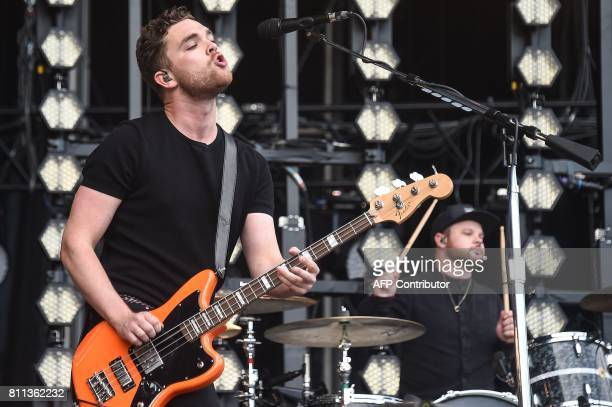 British band Royal Blood's bass player and singer Mike Kerr and drummer Ben Thatcher perform on stage during the 29th Eurockeennes rock music...