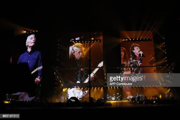 British band the Rolling Stones performs during the inauguration concert of the U Arena hall new stadium of the French Rugby Union club Racing 92 in...