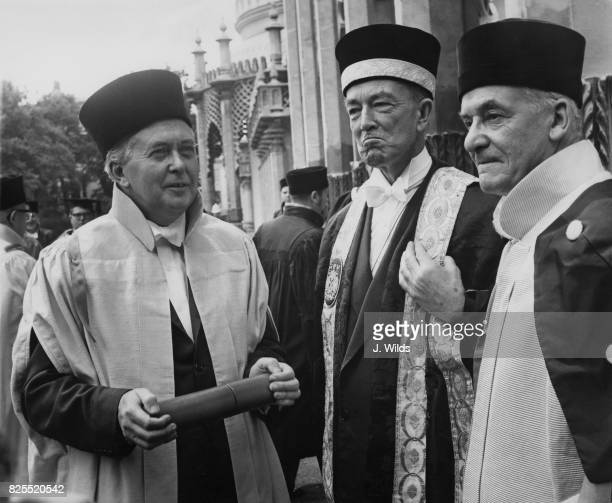British barrister Sir Hartley Shawcross is installed as the new Chancellor of Sussex University at the Dome in Brighton UK 13th July 1966 On the left...