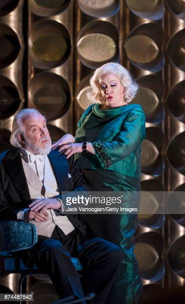 British bass Sir John Tomlinson and mezzosoprano Alice Coote perform at the final dress rehearsal prior to the US premiere of 'The Exterminating...