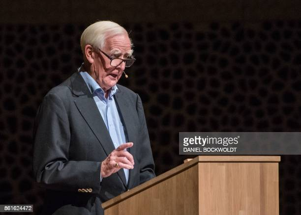 British bestselling author John le Carre gives a speech on October 15 2017 in Hamburg at the Elbphilharmonie where he presented his new book 'A...