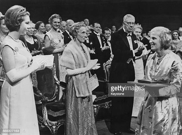 British biochemist Dorothy Hodgkin receiving the Nobel Prize in chemistry for her development of protein crystallography Stockholm 10th December 1964...
