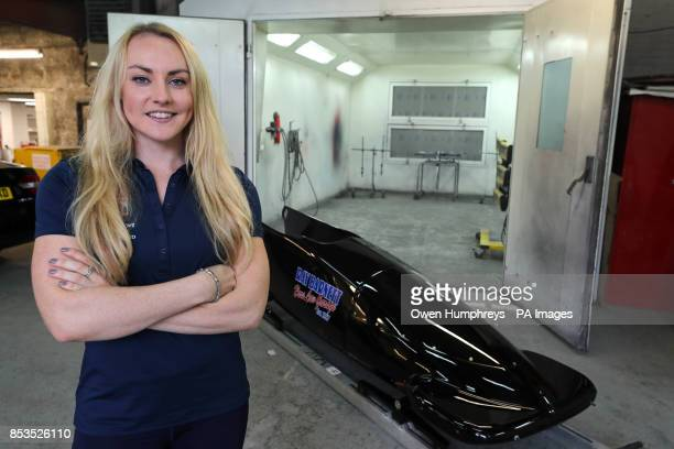 British bobsleigh driver Mica McNeill during at photocall at Hare Law Garage Durham