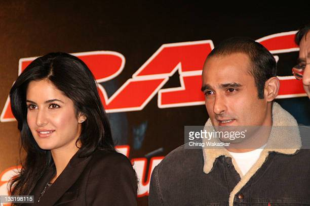British born Bollywood actress Katrina Kaif and actor Akshaye Khanna attend the digital music launch of the Bollywood movie 'Race' on Indiatimes...