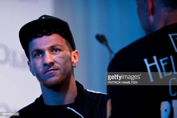 British boxer Gary Corcoran looks on during the prefight weighin at the Brisbane Convention Centre in Brisbane on December 12 the eve of the World...