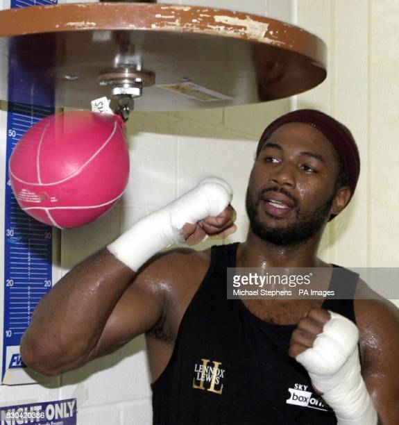 British boxer Lennox Lewis in training on the speed ball at his camp in Hackney London ahead of his World Championship Heavyweight boxing match...