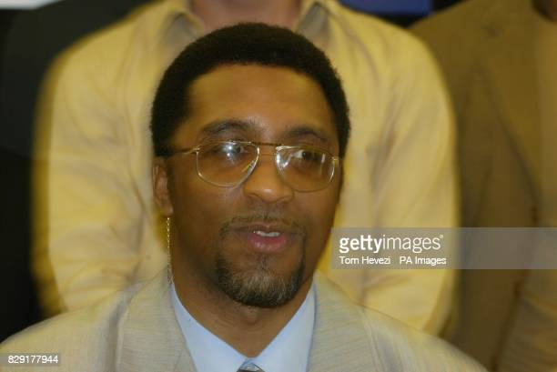 British boxer Michael Watson who suffered brain damage in a world championship super middleweight contest against Chris Eubank in 1991 at the launch...
