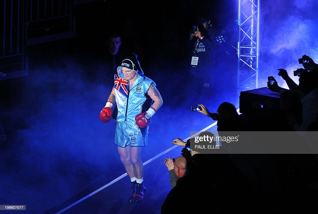British boxer Ricky Hatton arrives ahead of the welterweight boxing match against Ukranian Vyacheslav Senchenko at The Manchester Arena in Manchester, north-west England, on November 24, 2012. AFP PHOTO/PAUL ELLIS