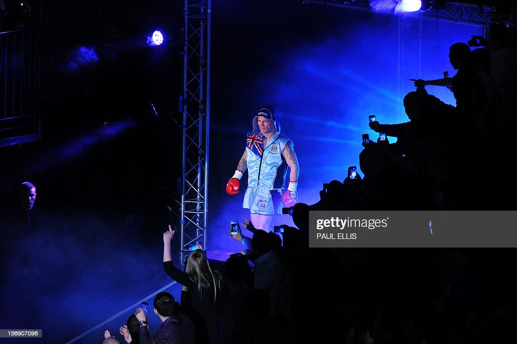 British boxer Ricky Hatton arrives ahead of the welterweight boxing match against Ukranian Vyacheslav Senchenko at The Manchester Arena in Manchester, north-west England, on November 24, 2012.