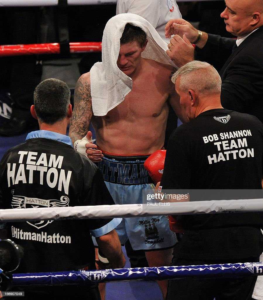 British boxer Ricky Hatton reacts after losing the welterweight boxing match against Ukranian Vyacheslav Senchenko at The Manchester Arena in Manchester, north-west England, on November 24, 2012.