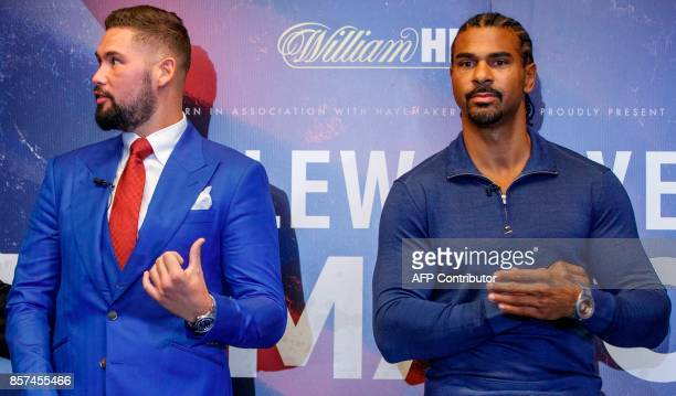 British boxers David Haye and Tony Bellew attend a press conference in London on October 4 to promote their upcoming heavyweight rematch due to take...