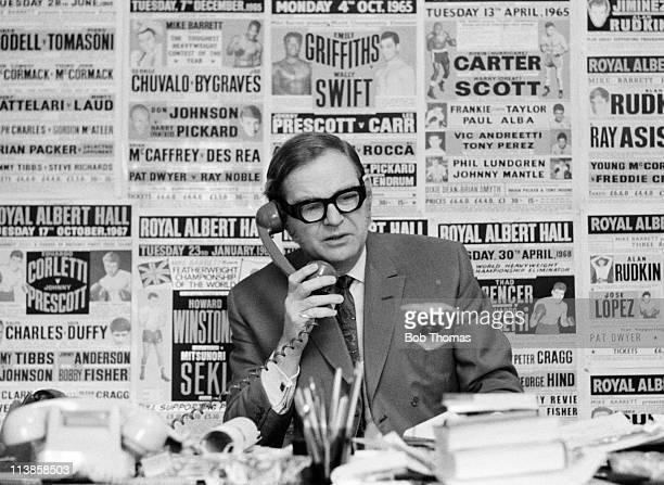 British Boxing promoter Mike Barrett at work in London January 1971