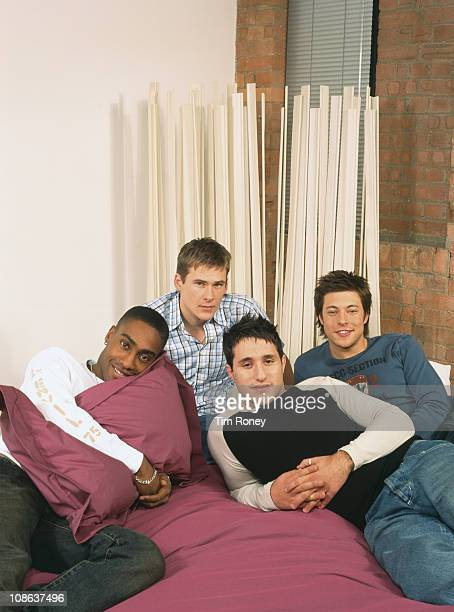 British boy band Blue London circa 2003 They are Simon Webbe Lee Ryan Duncan James and Antony Costa