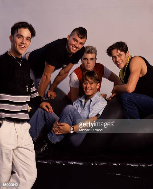 British boy band Take That comprising Gary Barlow Howard Donald Jason Orange Mark Owen and Robbie Williams London 1991