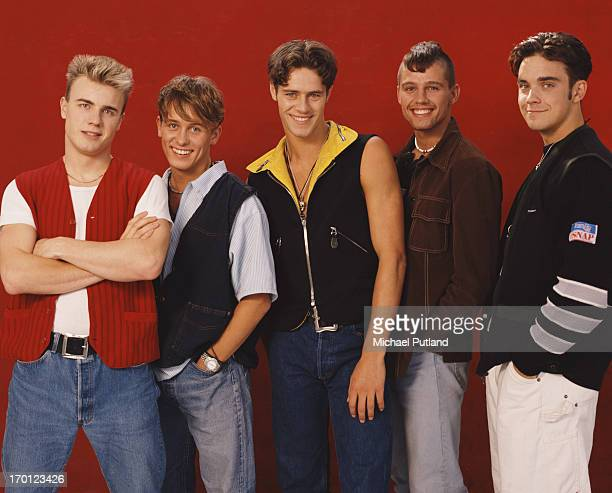 British boy band Take That London 1991 Left to right Gary Barlow Mark Owen Howard Donald Jason Orange and Robbie Williams