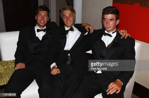 British boys Oliver GoldingLiam Broady and George Morgan at the Wimbledon Championships 2011 Winners Ball at the InterContinental Park Lane Hotel on...